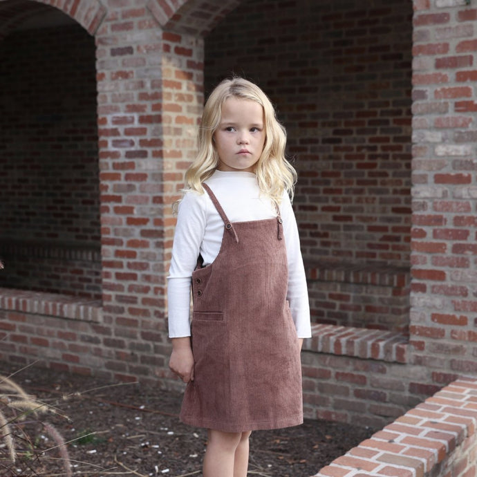 Little Girl || Corduroy Overall Dress in Brown