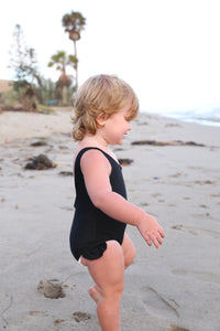 Swimsuit with Ruffle in Black