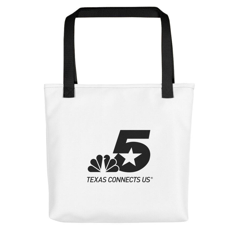 NBC 5 Texas Connects Us Black Logo White Tote Bag