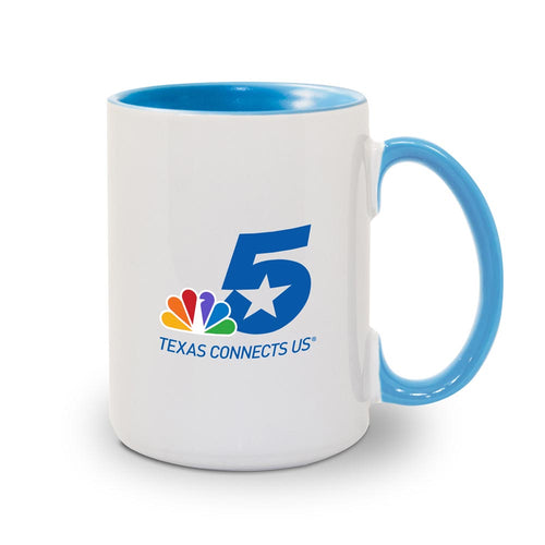 NBC 5 Logo White and Blue Mug