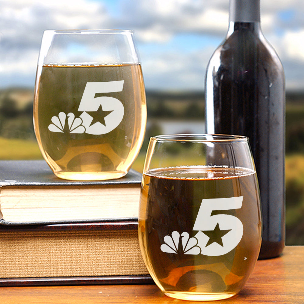 Engraved NBC 5 Logo Stemless Wine Gasses - Set of 2