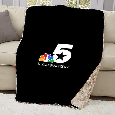 NBC 5 Texas Connects Us Logo Sherpa Throw Blanket