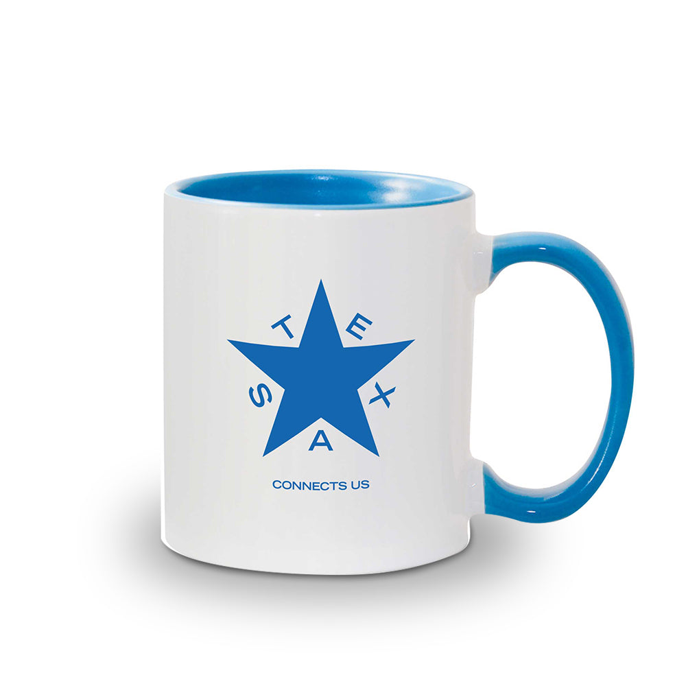 NBC 5 Texas Connects Us White and Blue Mug
