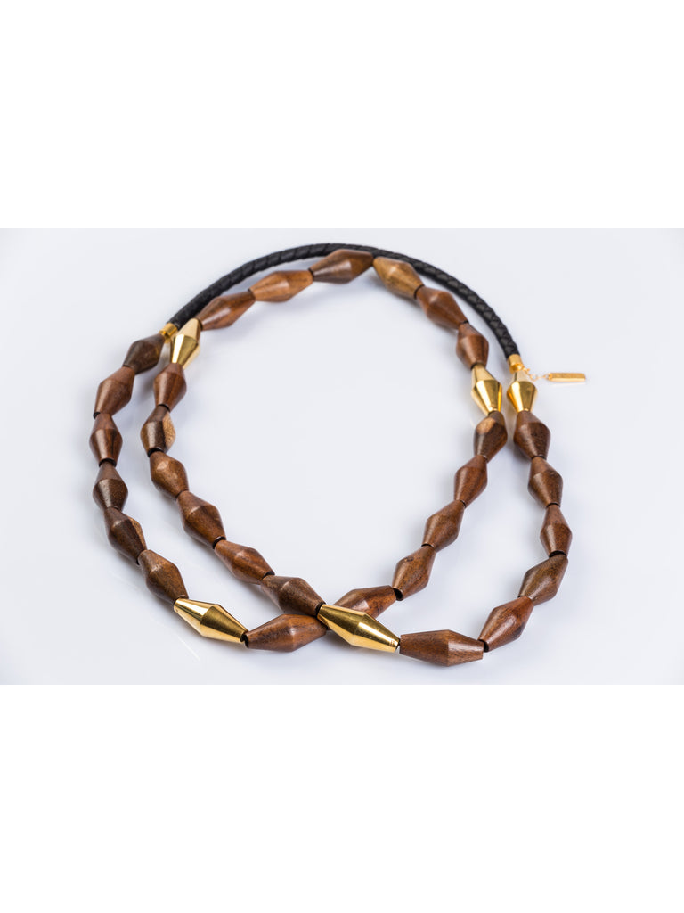 APRIY, Brancusi Gold Rosewood Necklace