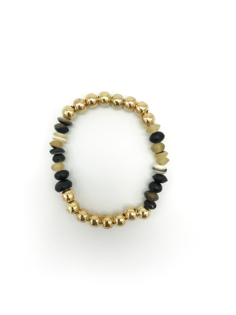 AYA By APRIY, Horn Beads 16 Gold Bracelet