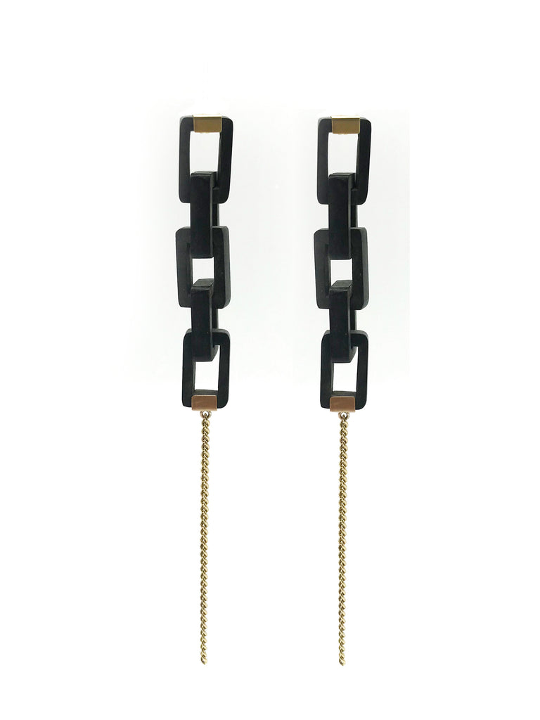 A-COMMENT, 5 Chain Ebony Wood Earring