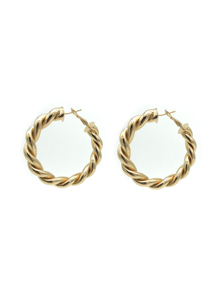 AYA Bijoux, Gold Twist Hoop Earring
