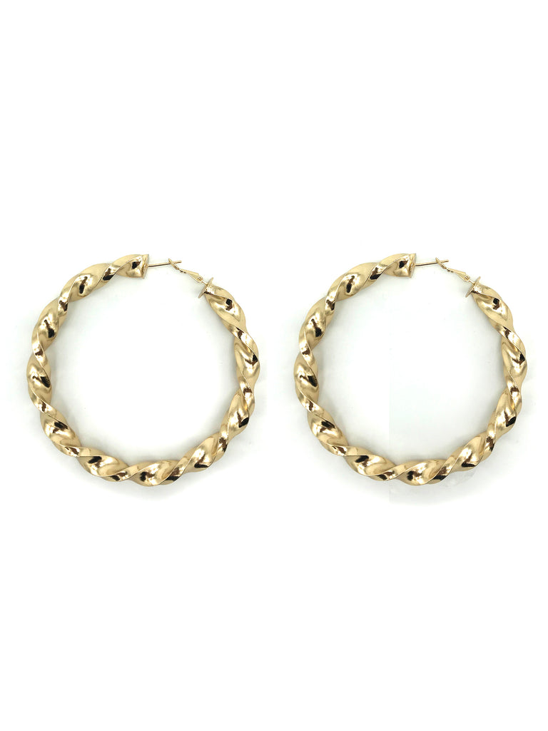 AYA Bijoux, Gold Twist Hoop Large Earring