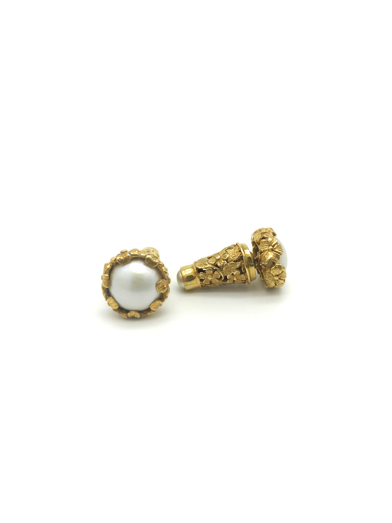 Gold Cone Floral With Pearl Earring, Gold plated on Sterling Silver