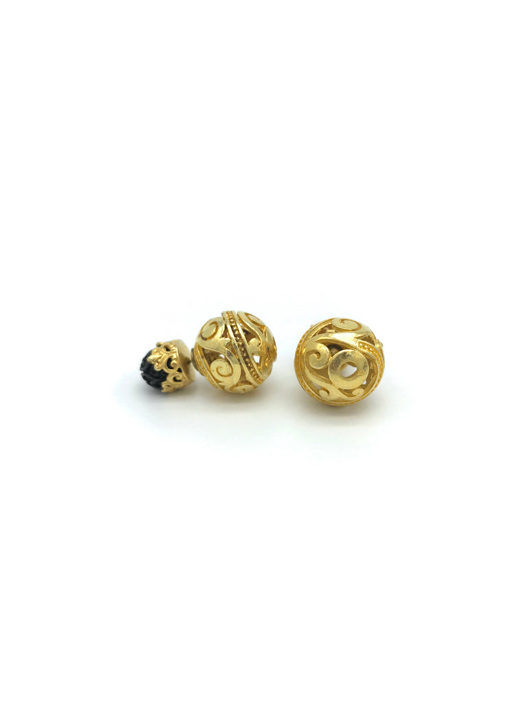 Gold Globe Skeleton, Black Rosel Earring