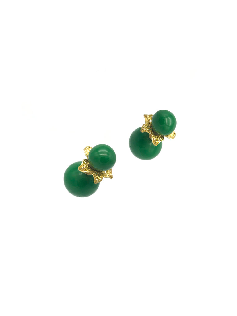 Gold Globe Flower,  Green Bead with Bone