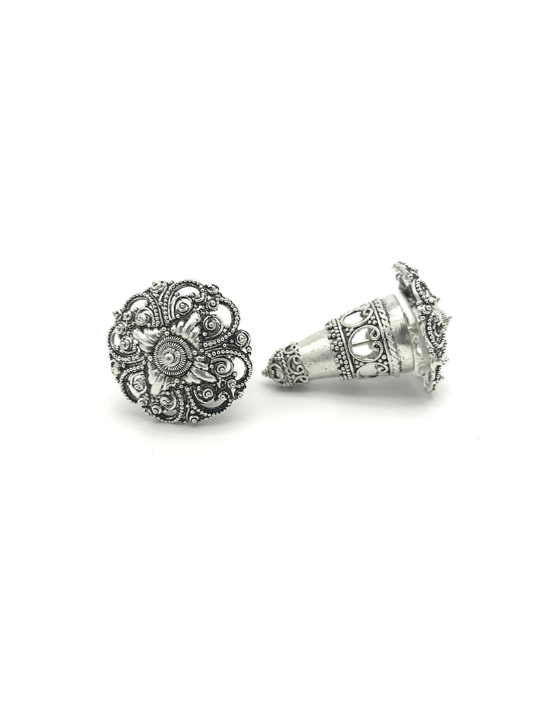 Silver Cone,  Large Skeleton Floral Earring