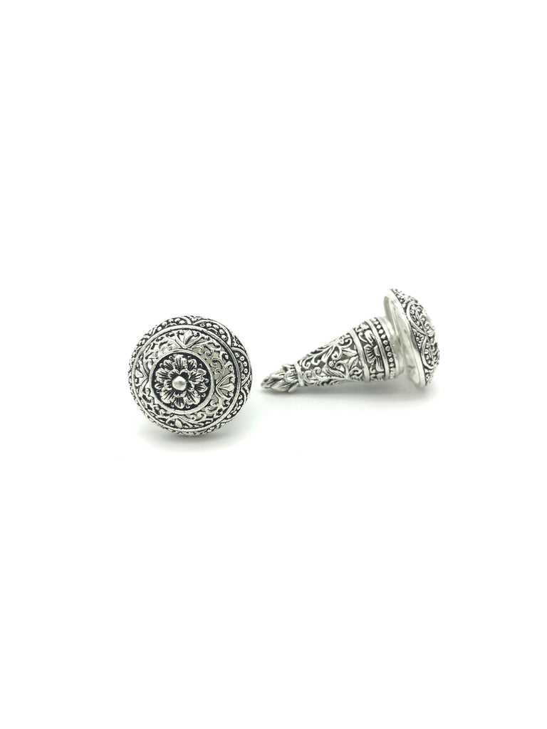 Silver Cone, Floral Carved Large Earring