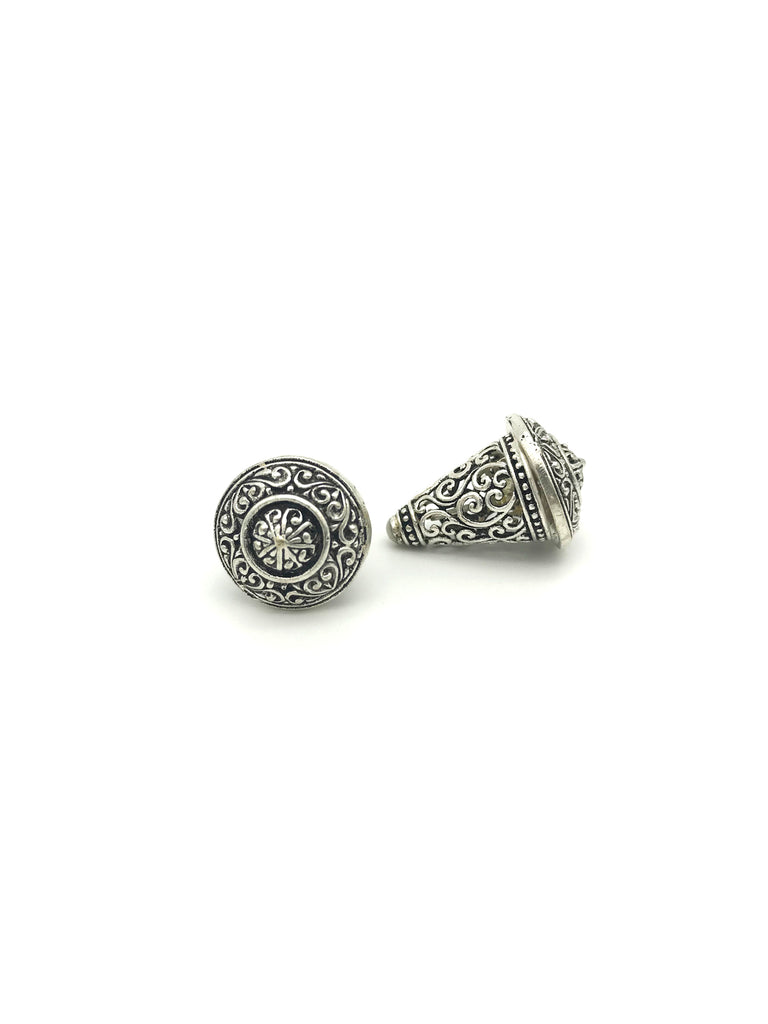 Silver Cone, Floral Carved Skeleton Style, Small Earring