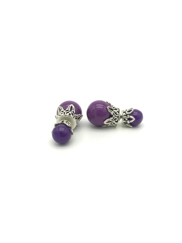 Silver Globe, Purple Bone Earring