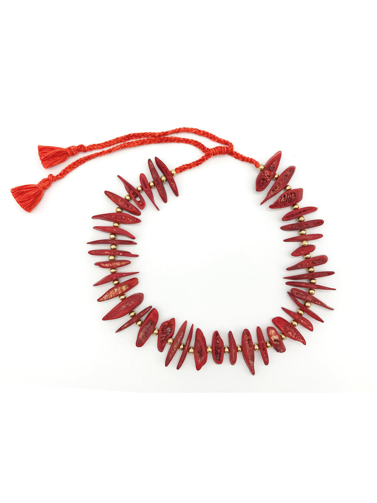AYA By APRIY, Gold beaded Red Rib Necklace