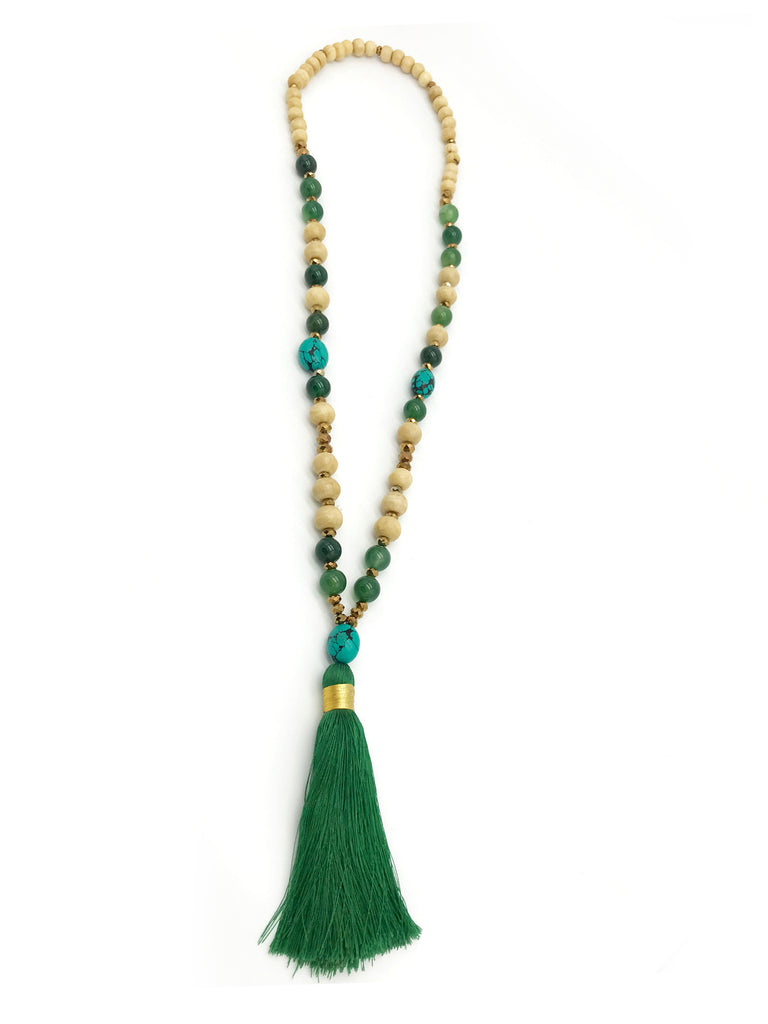 AYA Bijoux, Agaat Green Tassel Necklace
