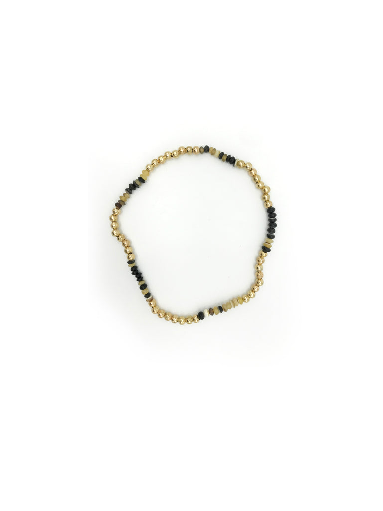 AYA By APRIY, Horn Beads Gold Small Row Necklace