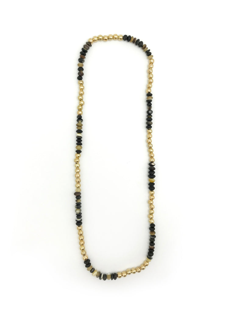 AYA By APRIY, Horn Beads Gold Large Row Necklace
