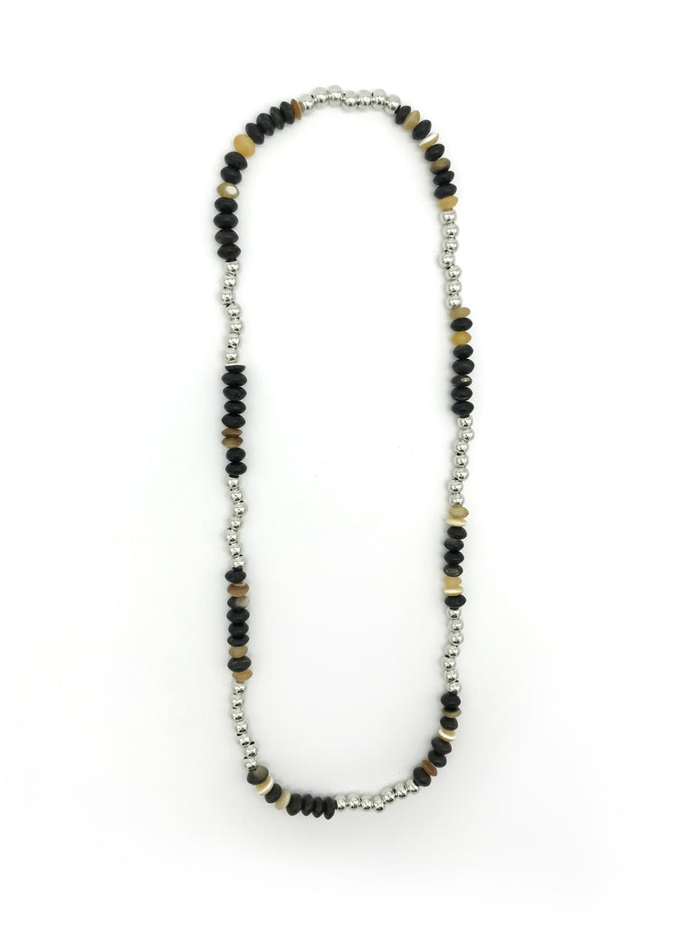 AYA By APRIY, Horn Beads Silver Large Row Necklace