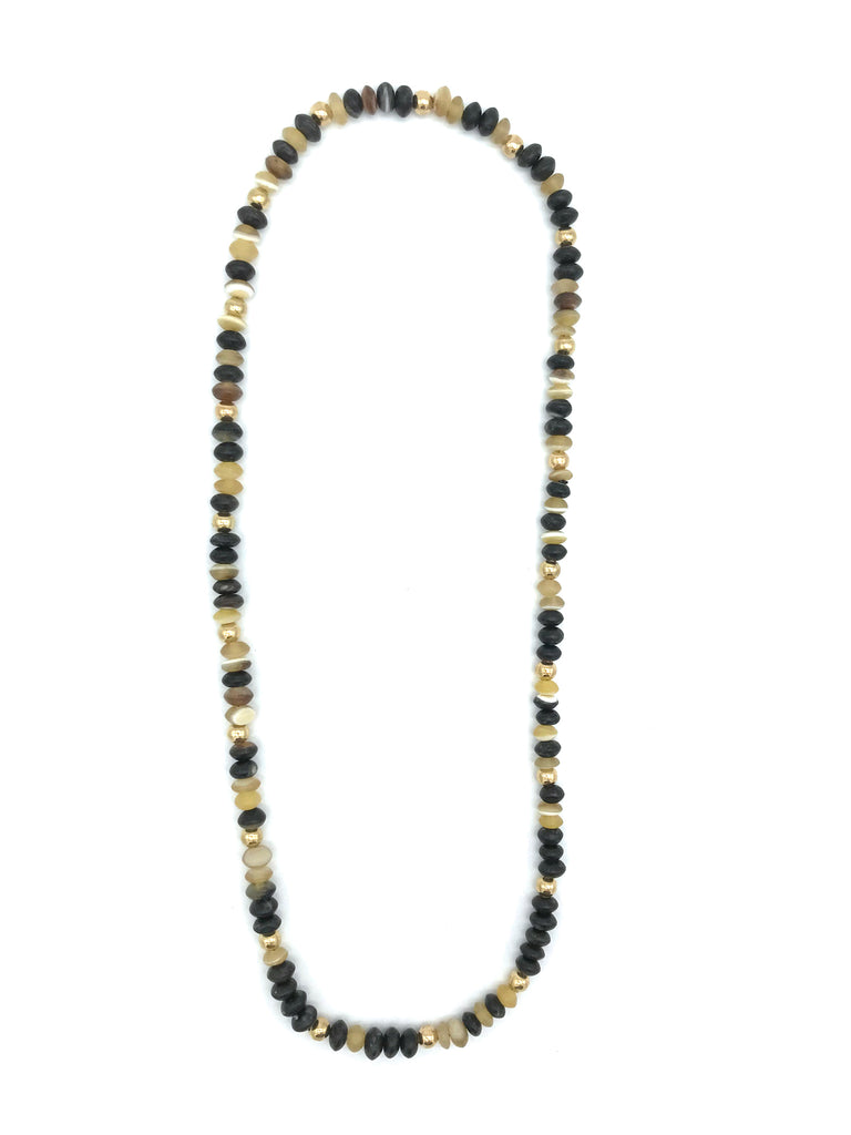AYA By APRIY, Horn Beads Even Gold Large Row Necklace