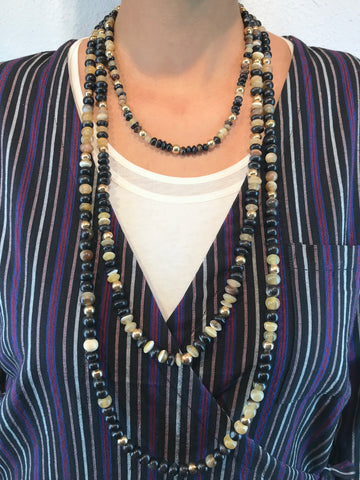 AYA By APRIY, Horn Beads Even Gold Medium Row Necklace - AYA Conceptstore