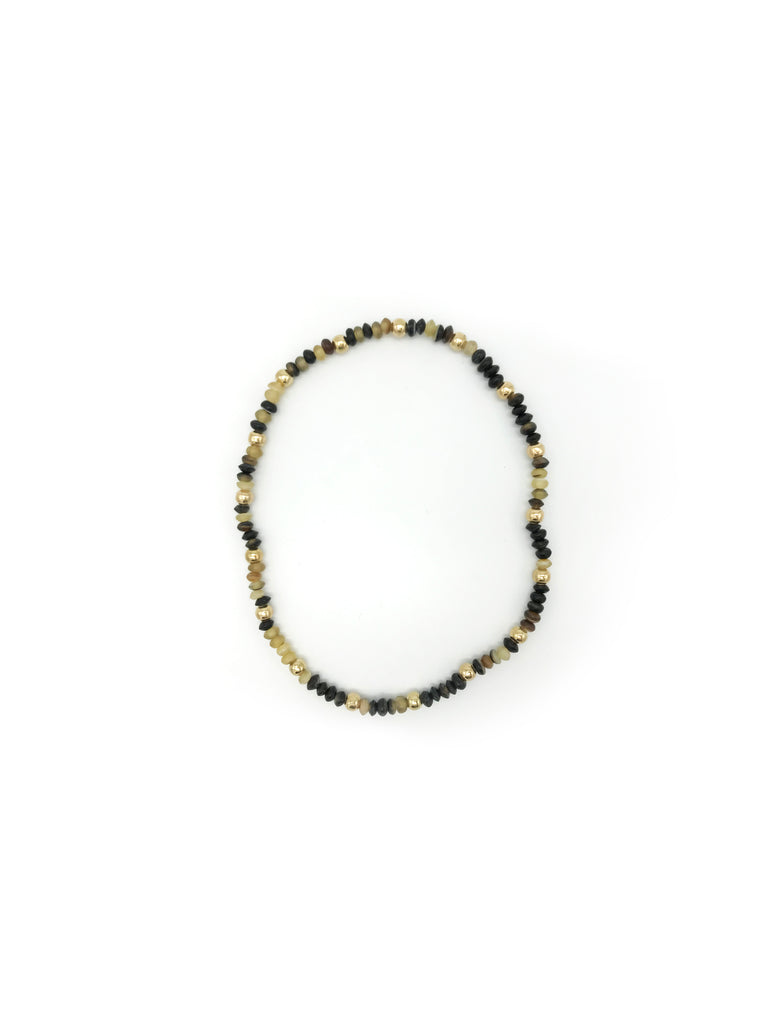 AYA By APRIY, Horn Beads Even Gold Small Row Necklace