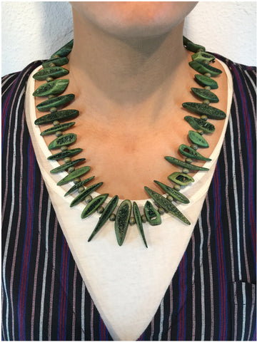 AYA By APRIY, Wood Beaded Green Rib Necklace - AYA Conceptstore