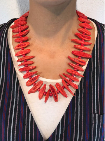 AYA By APRIY, Wood Beaded Red Rib Necklace - AYA Conceptstore