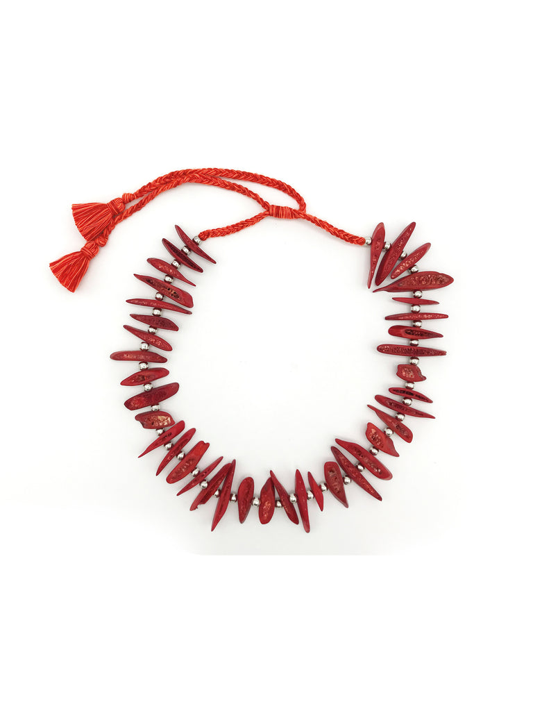 AYA By APRIY, Silver Beaded Red Rib Necklace