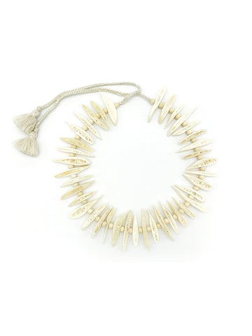 AYA By APRIY, Wood Beaded OffWhite Rib Necklace