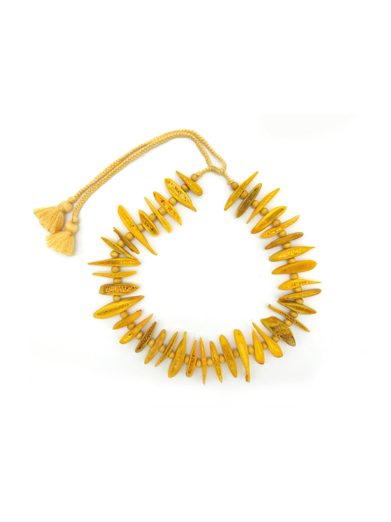 AYA By APRIY, Wood Beaded Yellow Rib Necklace