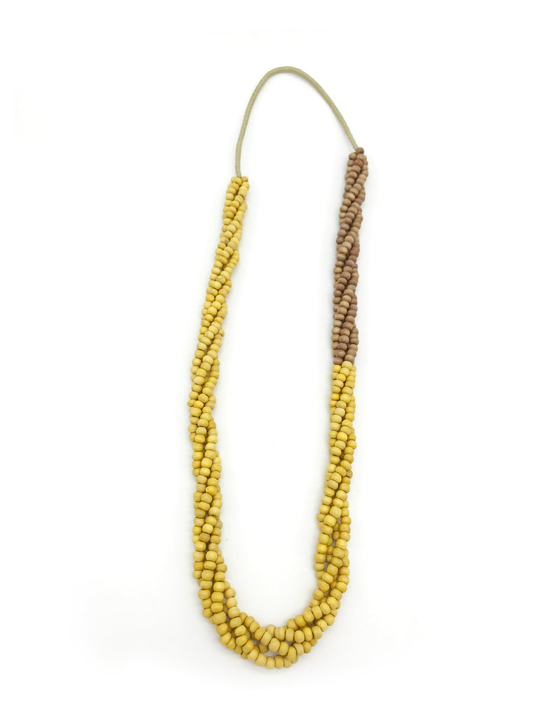 AYA Bijoux, Wood Twister Yellow Necklace