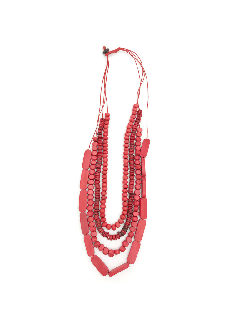 AYA Bijoux, Wood Red 3 Types Necklace