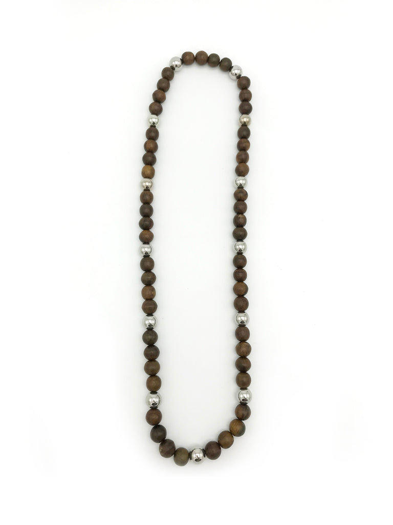 AYA By Apriy, Wood Ebony and Silver Necklace