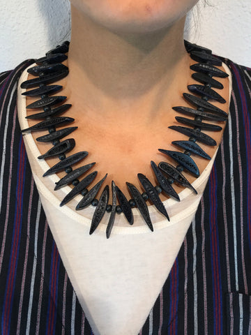 AYA By APRIY, Wood Beaded Black Rib Necklace - AYA Conceptstore