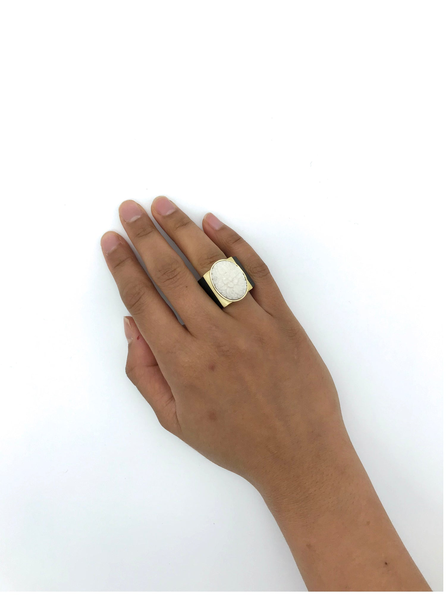 A Comment Floral Carved Bone Ring Aya Conceptstore