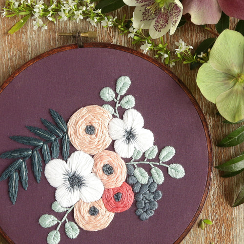 Hand Embroidery Kit for Beginners - Colette (purple)
