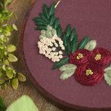 Floral Half Wreath Hand Embroidery Kit (burgundy)