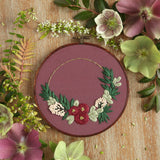 Floral Half Wreath Hand Embroidery Kit