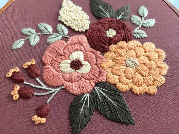Hand Embroidery Kit for Beginners - Hannah Rose (Bordeaux)