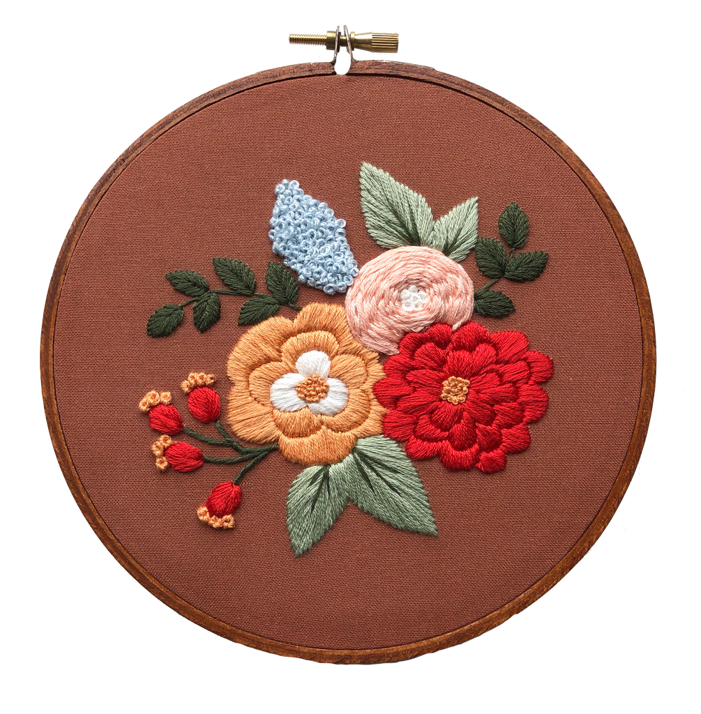 Hand Embroidery Kit for Beginners - Hannah Rose (rust)