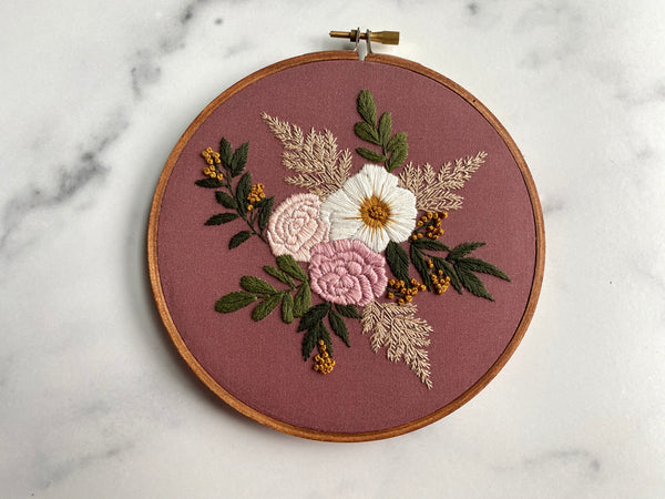 Hand Embroidery Kit - Floral Bouquet (wine)
