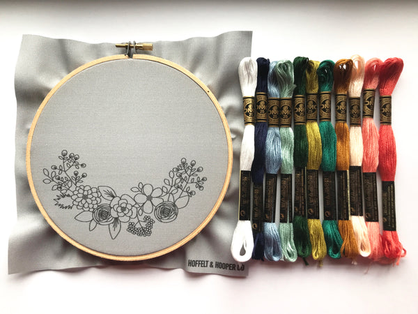 Hand Embroidery Kit for Beginners - Heather (gray)