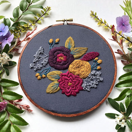 Hand Embroidery Kit for Beginners - Colette (purple0