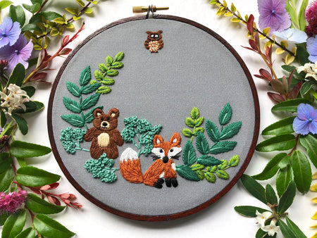 Forest Friends Hand Embroidery Kit