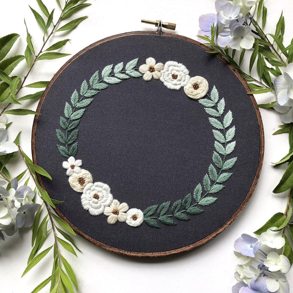 Hand Embroidery Kit for Beginners - Ombre Wreath