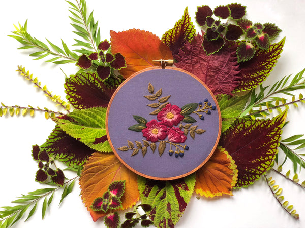 Hand Embroidery Kit for Beginners - Madelyn (purple)