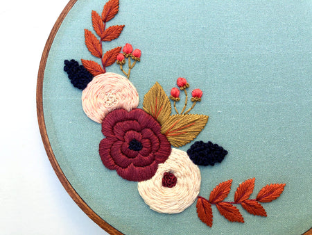 Hand Embroidery Kit for Beginners - Full Wreath (brown)