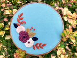Hand Embroidery Kit for Beginners - Side Wreath
